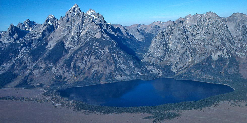 Cascade Canyon and Jenny Lake show classic traits of a glacial carved canyon and morainal lake.