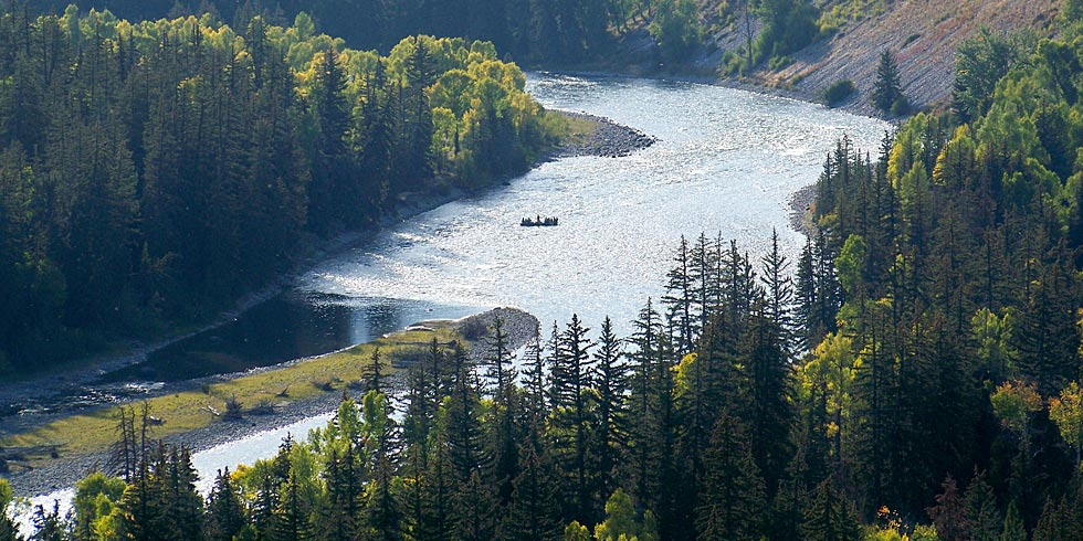 The Snake River winds its way through the valley know as Jackson Hole.
